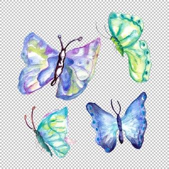 Conjunto de borboletas coloridas em aquarela