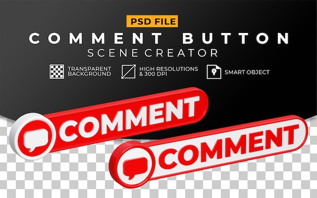 Conjunto de botões de comentário 3d