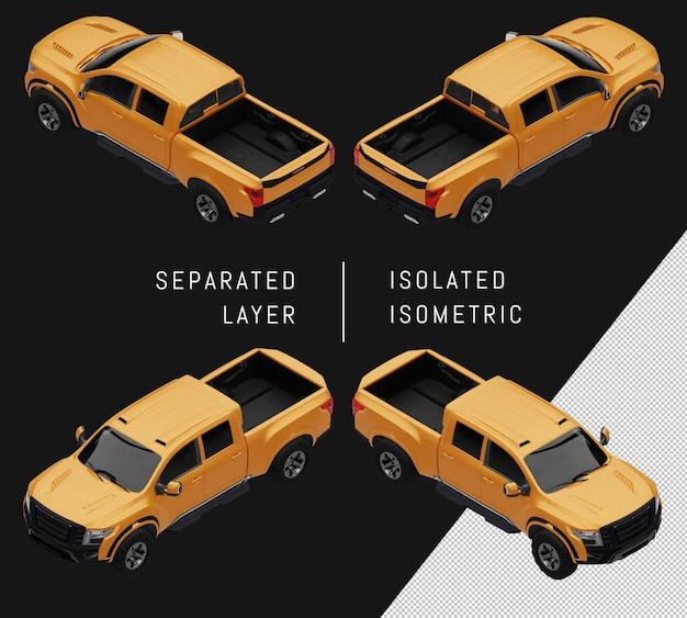 Conjunto de carro isométrico de caminhonete esportiva amarela isolado