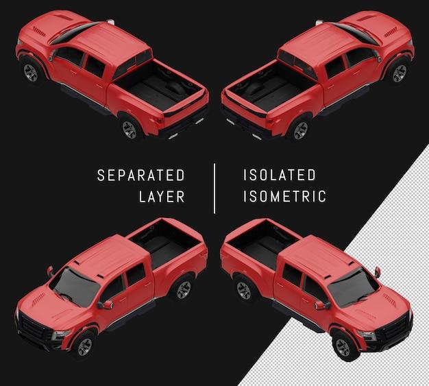 Conjunto de carro isométrico de camionete esportiva vermelha isolada
