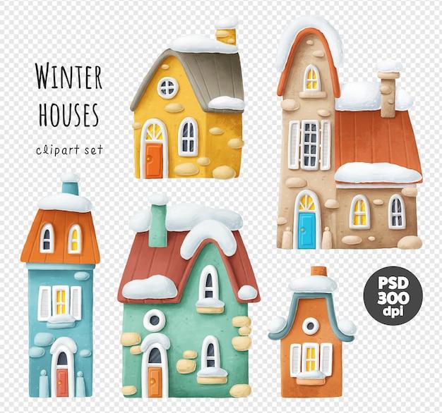 Conjunto de casas de inverno na neve