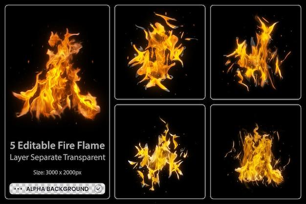 Conjunto de chamas de fogo realistas com elementos brilhantes e brilhantes.