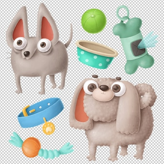 Conjunto de clipart de cães dos desenhos animados