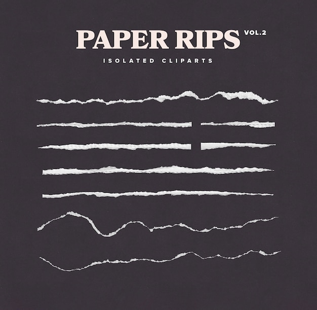 Conjunto de clipart de rasgar papel isolado
