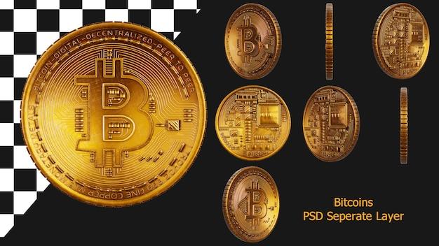 Conjunto de coleta de criptomoedas de bitcoin dourado