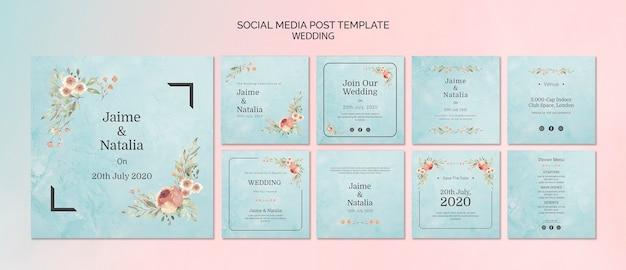 Conjunto de convites de casamento para mídias sociais