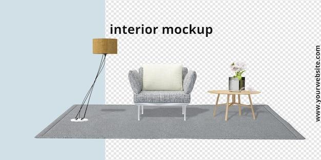 Conjunto de decoração de interiores em maquete de renderização em 3d