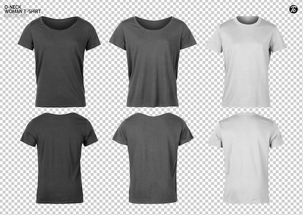 Conjunto de design de maquete de camiseta feminina