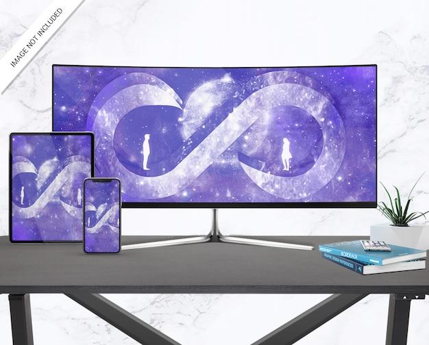 Conjunto de dispositivos digitais e maquete para monitor de tela ultra larga