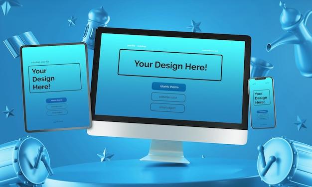 Conjunto de dispositivos multi-digitais flutuantes, maquete, design 3d, composição árabe ramadan eid mubarak