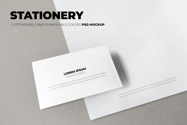 Conjunto de documentos e modelos de cartão de visita