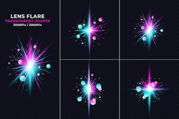 Conjunto de efeitos de luz de reflexo de lente de impacto de forças realistas