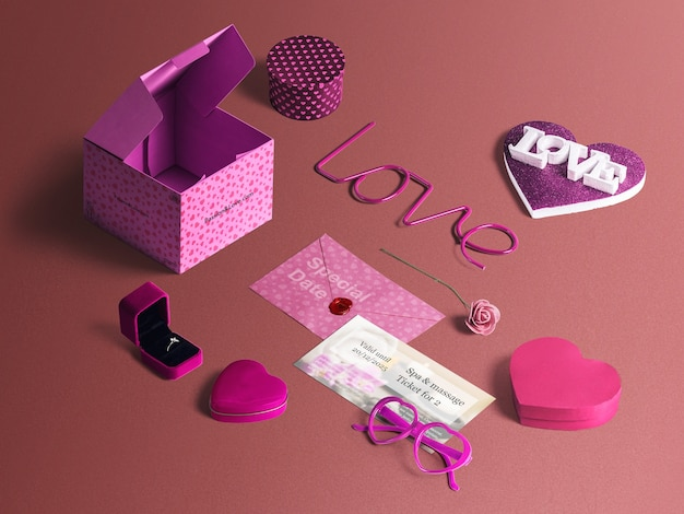 Conjunto de elementos especiais san valentin