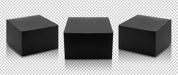 Conjunto de embalagem de produto de caixa preta em vista lateral e maquete de vista frontal