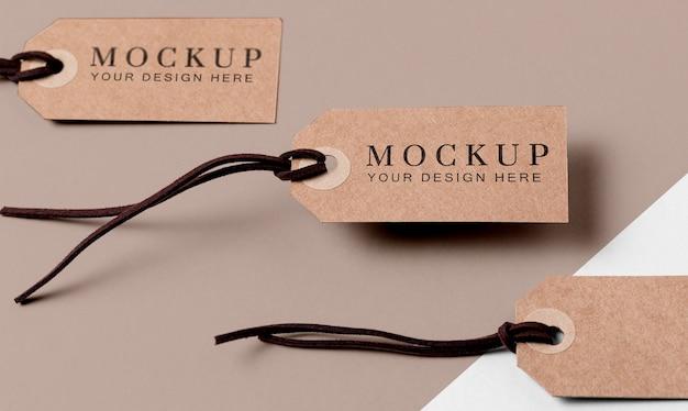 Conjunto de etiquetas de mock-up de roupas