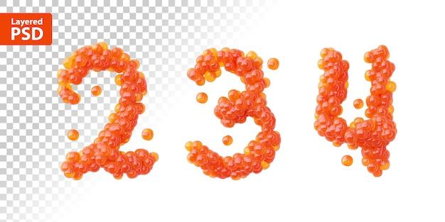 Conjunto de fontes de caviar vermelho, números 2, 3, 4.