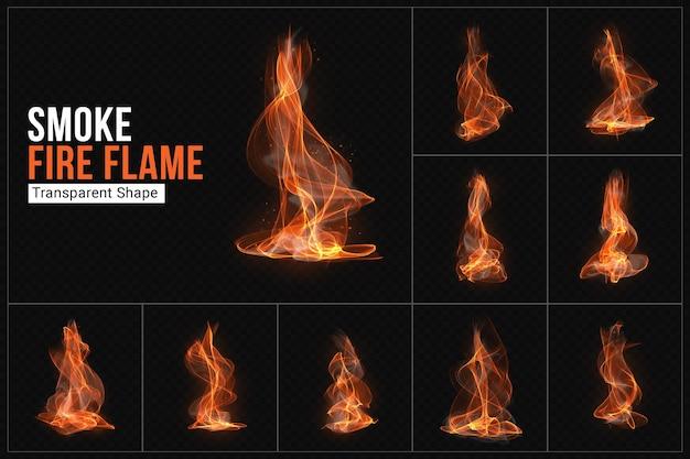 Conjunto de formas transparentes de fumaça de fogo