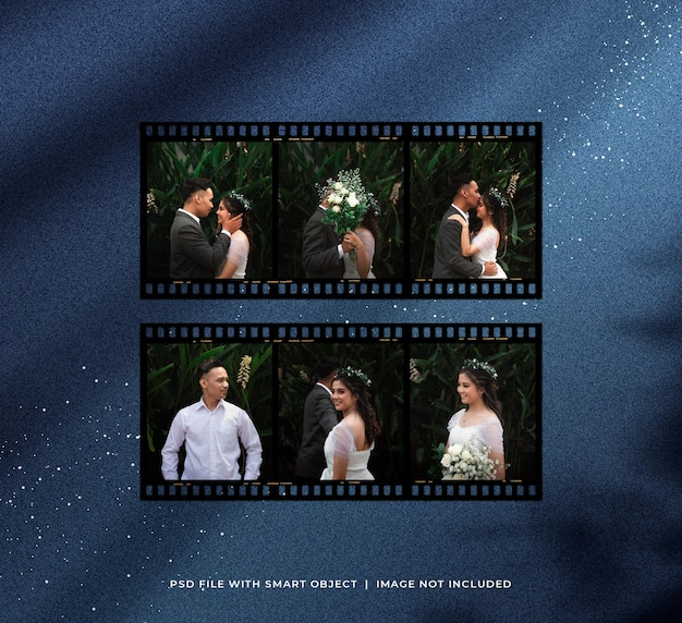 Conjunto de fotos românticas de tira de filme com partículas de brilho