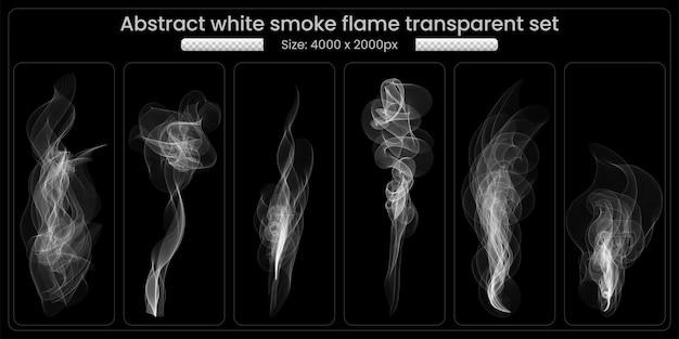 Conjunto de fumaça branca transparente em fundo preto
