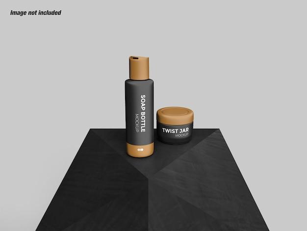 Conjunto de garrafa de sabonete para cosméticos e maquete de jarra giratória