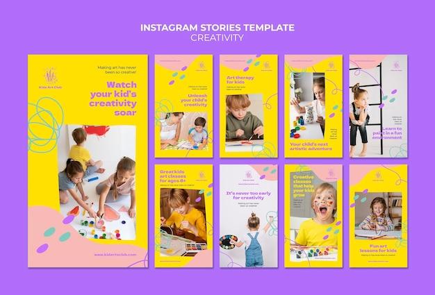 Conjunto de histórias criativas para crianças no instagram