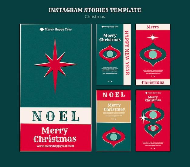 Conjunto de histórias de feliz natal no instagram