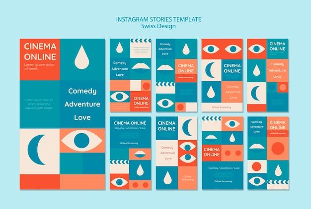 Conjunto de histórias de instagram de design suíço