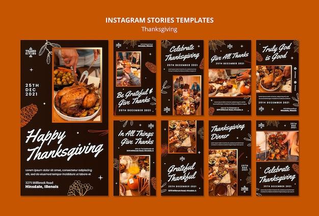 Conjunto de histórias de instagram de feliz dia de graças
