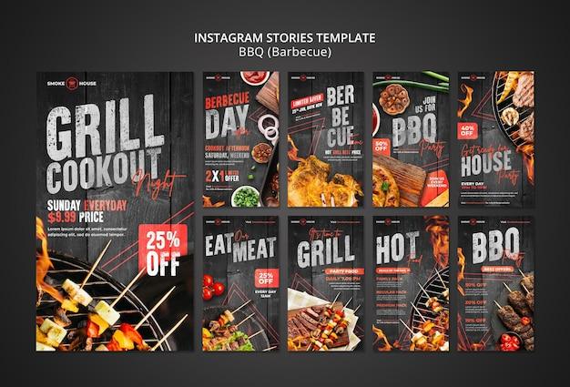 Conjunto de histórias de mídia social de churrascaria