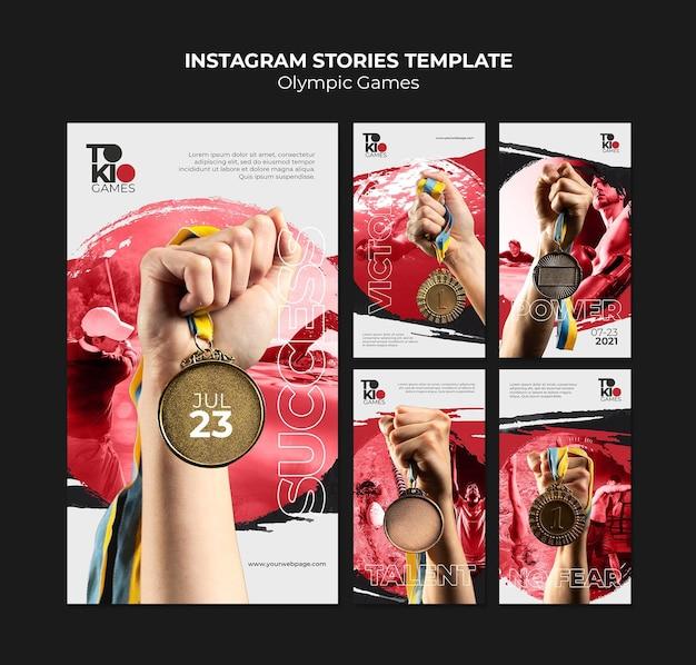 Conjunto de histórias de mídia social de competição esportiva