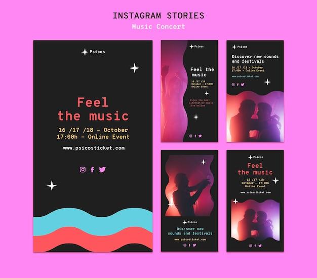 Conjunto de histórias de mídia social de concertos musicais