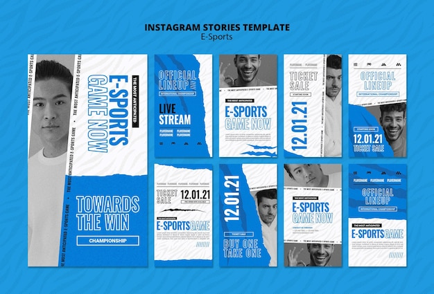 Conjunto de histórias de mídia social de e-sports