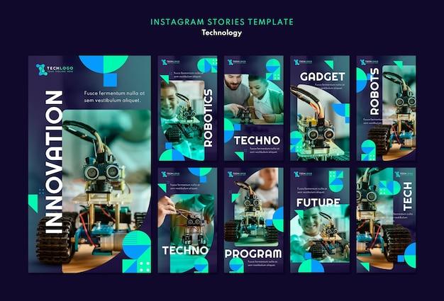 Conjunto de histórias de mídia social de tecnologia