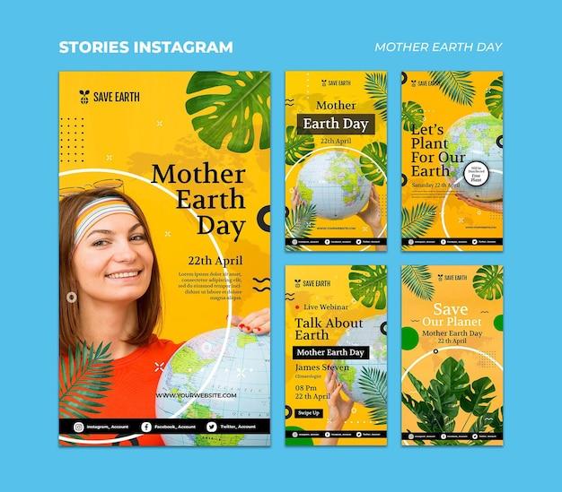Conjunto de histórias de mídia social do dia da mãe terra