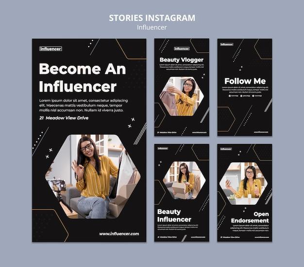 Conjunto de histórias de mídia social influenciador
