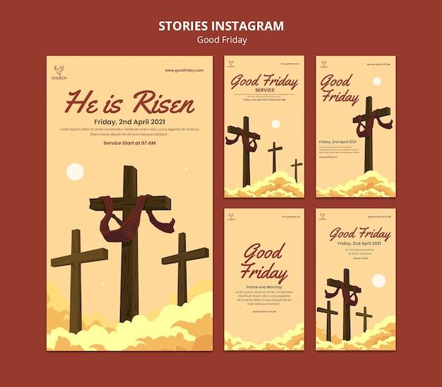 Conjunto de histórias de mídia social na sexta-feira da boa