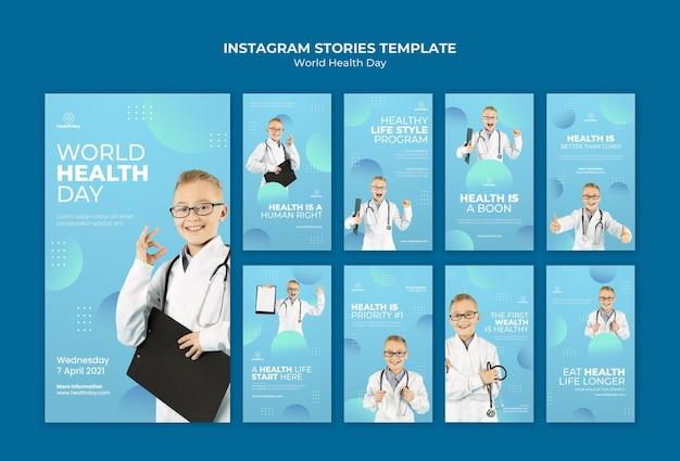 Conjunto de histórias de mídia social para o dia mundial da saúde