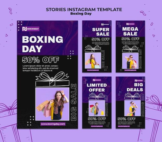 Conjunto de histórias do instagram de boxing day