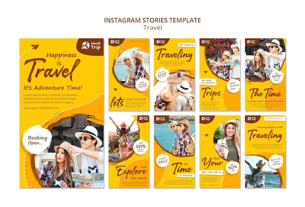 Conjunto de histórias do instagram de viagens
