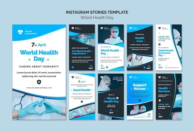 Conjunto de histórias do instagram para o dia mundial da saúde
