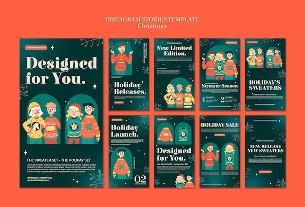 Conjunto de histórias ig da temporada de suéteres comemorativos