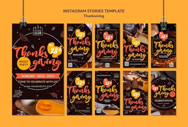 Conjunto de histórias ig para celebrar o dia de ação de graças