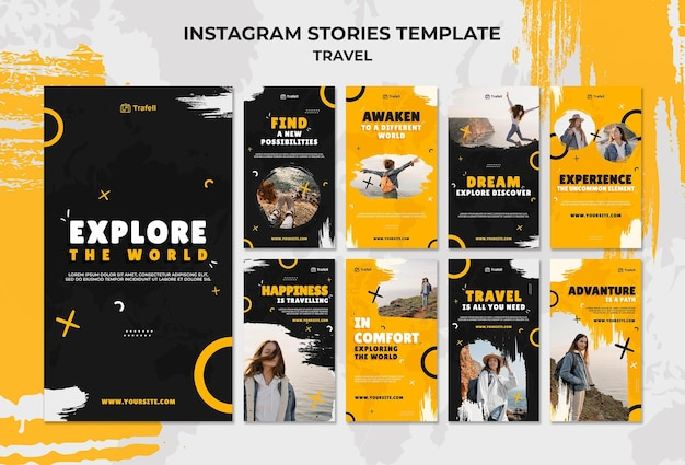 Conjunto de histórias itinerantes de mídia social