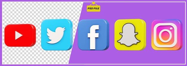 Conjunto de ícones 3d social maedia