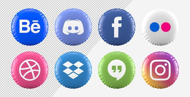 Conjunto de ícones de mídia social de balão 3d