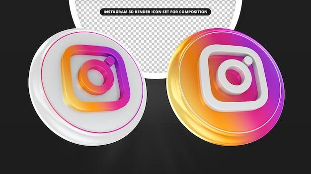 Conjunto de ícones de renderização 3d do instagram isolado
