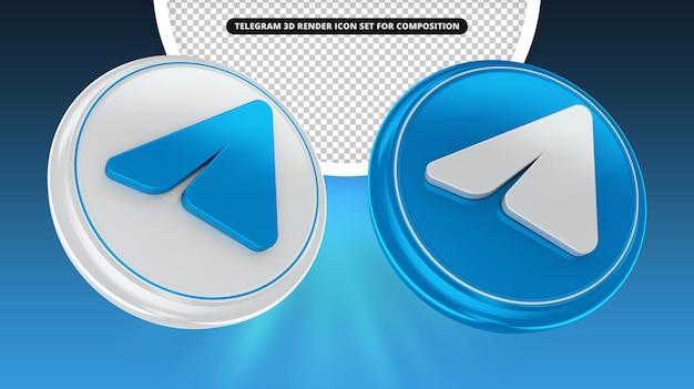 Conjunto de ícones de renderização 3d do telegrama para composição
