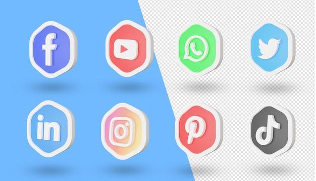 Conjunto de ícones e logotipos de mídia social 3d