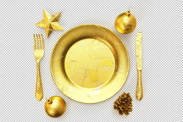 Conjunto de jantar de natal dourado festivo e minimalista elegante. renderização 3d
