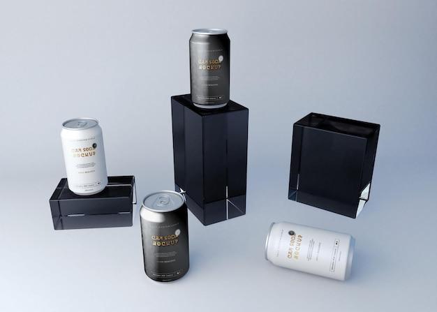 Conjunto de latas de refrigerante e caixas de maquete
